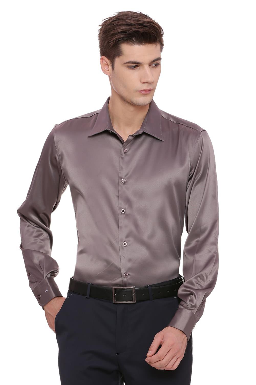 Basics   Basics Trim Fit Mid Grey Satin Stretch Shirt