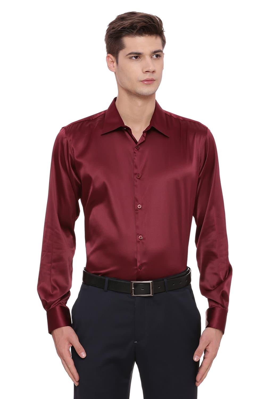 Basics   Basics Trim Fit Maroon Satin Stretch Shirt