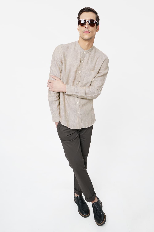 Basics   Basics Slim Fit Beige Linen Shirt