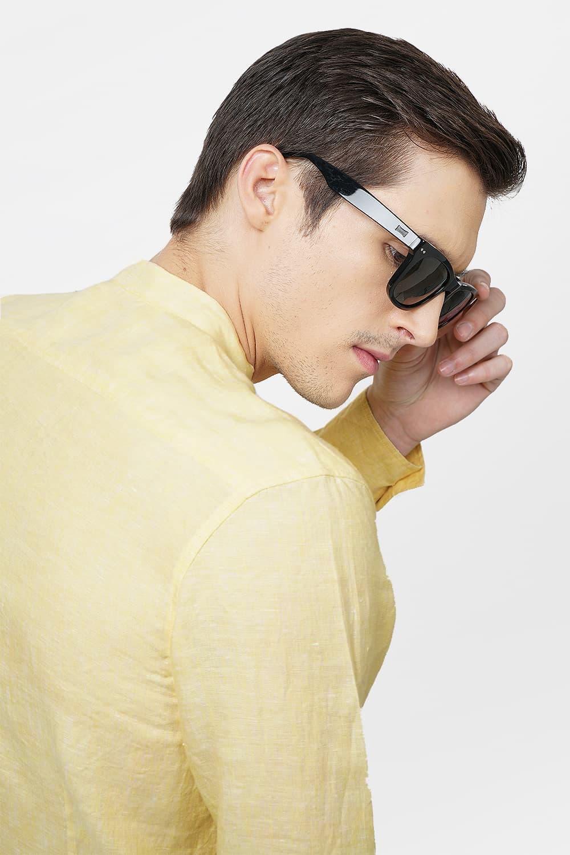 Basics | Basics Slim Fit Yellow Linen Shirt