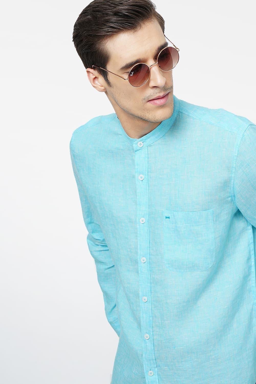 Basics | Basics Slim Fit Aqua Linen Shirt