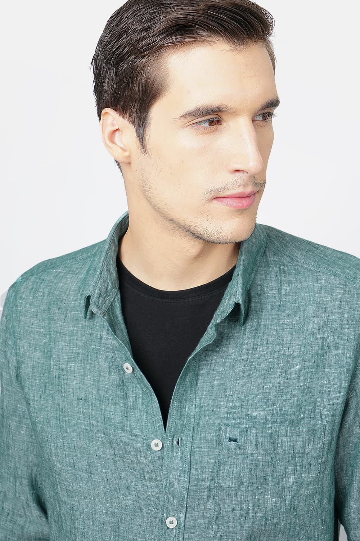 Basics | Basics Slim Fit Dark Green Linen Shirt