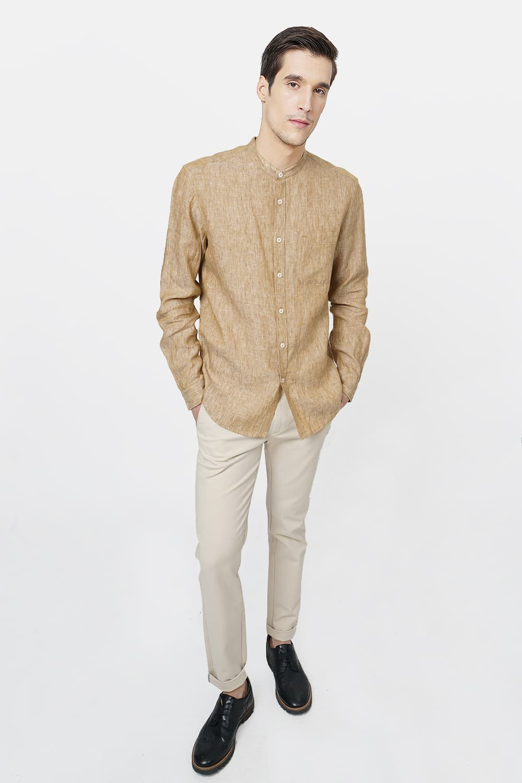 Basics | Basics Slim Fit Khaki Linen Shirt