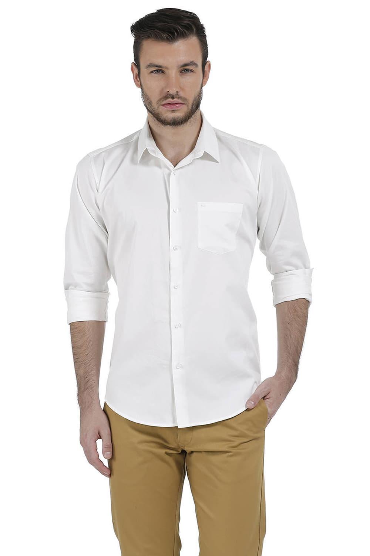 Basics   Basics Slim Fit Snow White Satin Shirt
