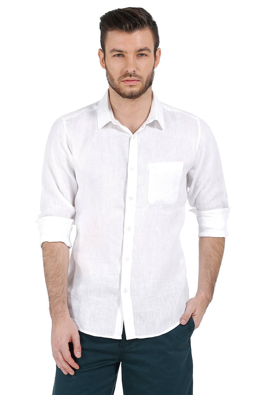 Basics | Basics White Slim Fit Linen Casual Shirt
