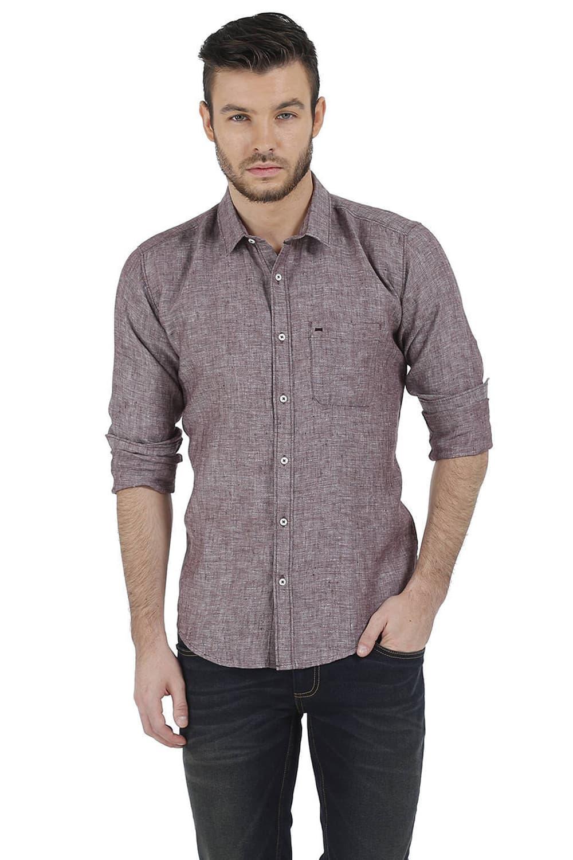 Basics | Basics Slim Fit Brown Chambray Linen Shirt