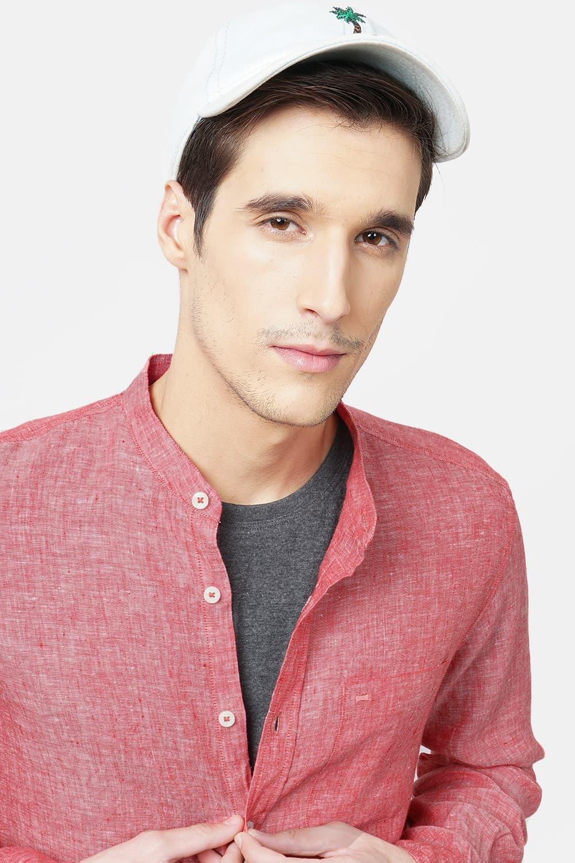 Basics | Basics Slim Fit Red Linen Shirt