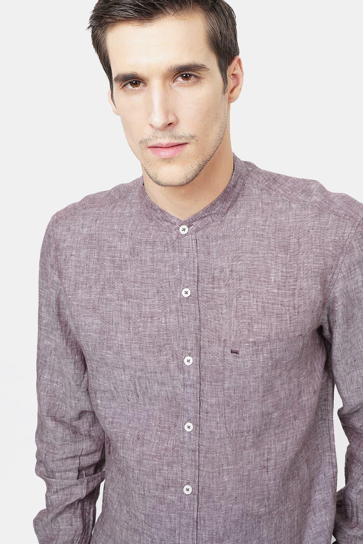 Basics | Basics Slim Fit Brown Linen Shirt
