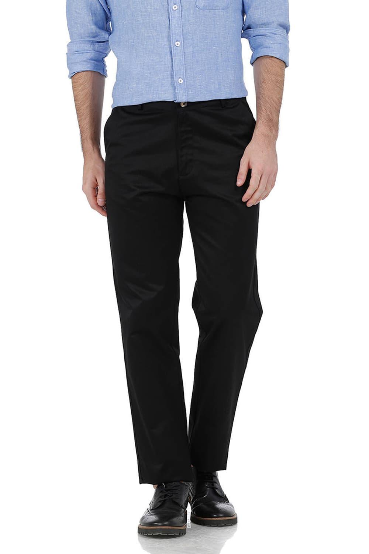 Basics   Basics Comfort Fit Black Satin Weave Poly Cotton Trousers