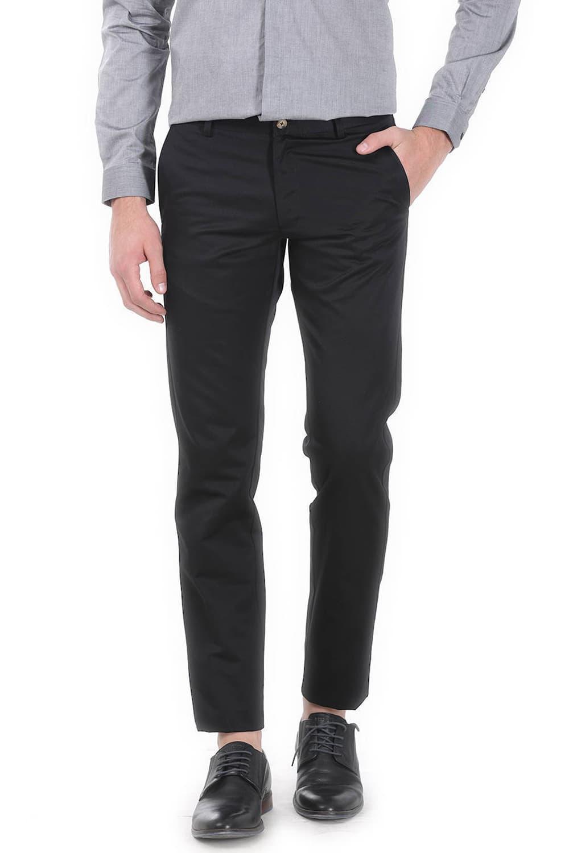 Basics | Basics Tapered Fit Black Satin Trousers