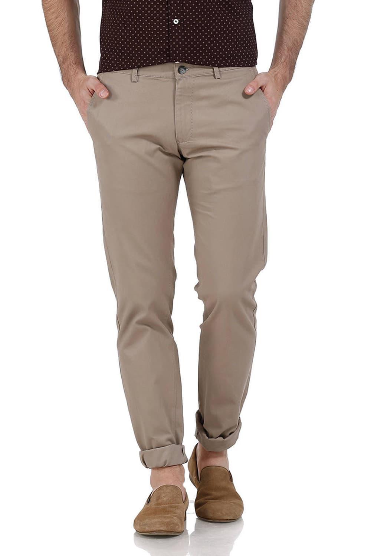 Basics | Basics Slim Fit Light Grey Dobby Weave Ribbed Trousers