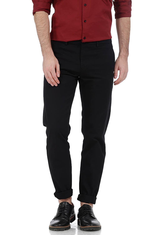 Basics | Basics Slim Fit Khaki Dobby Weave Ribbed Trousers