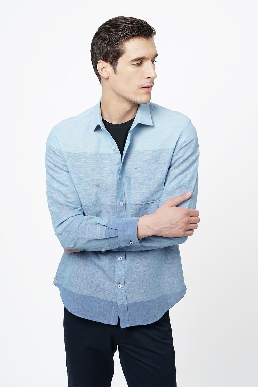Basics | Basics Slim Fit Powder Blue Weft Stripes Shirt