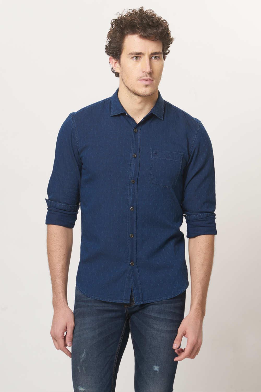 Basics | Basics Slim Fit Ensign Blue Indigo Dobby Shirt