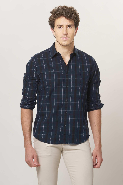 Basics | Basics Slim Fit Blueberry Checks Shirt