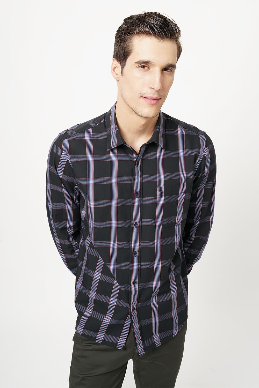 Basics   Basics Slim Fit Jetset Dark Grey Checks Shirt