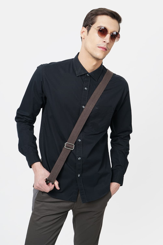 Basics   Basics Slim Fit Anthracite Black Twill Shirt