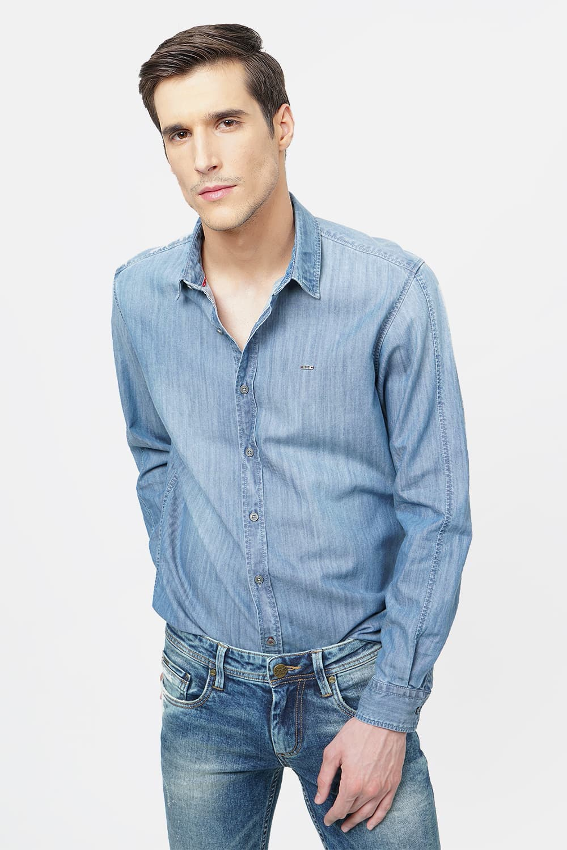Basics | Basics Slim Fit Blue Shadow Indigo Shirt