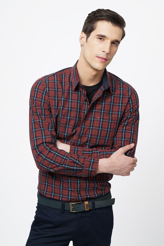Basics | Basics Slim Fit Rose Wood Checks Shirt