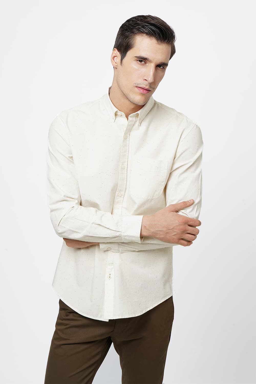 Basics   Basics Slim Fit Marsh Mallow Neps Shirt