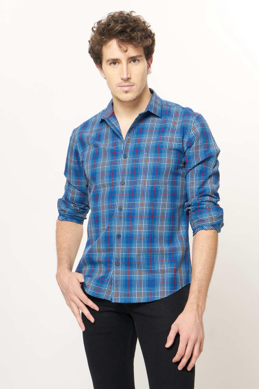 Basics | Basics Slim Fit Infinity Blue Checks Shirt