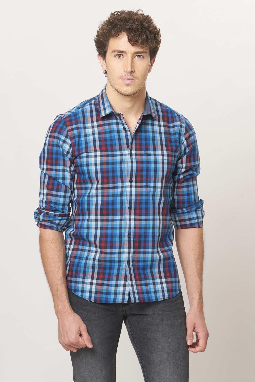 Basics | Basics Slim Fit Bijou Blue Twill Checks Shirt