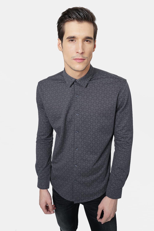 Basics | Basics Slim Fit India Ink Printed Knitted Shirt