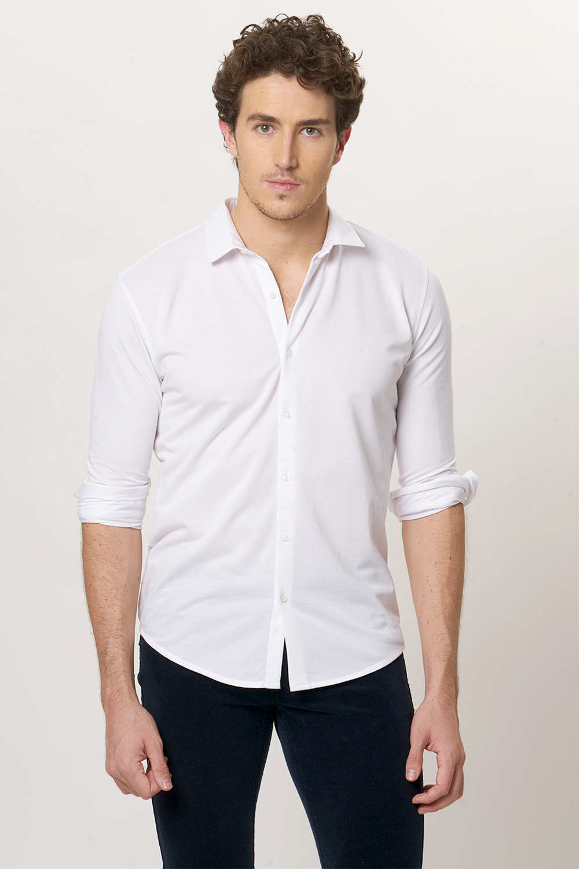Basics   Basics Slim Fit Bright White Knitted Shirt