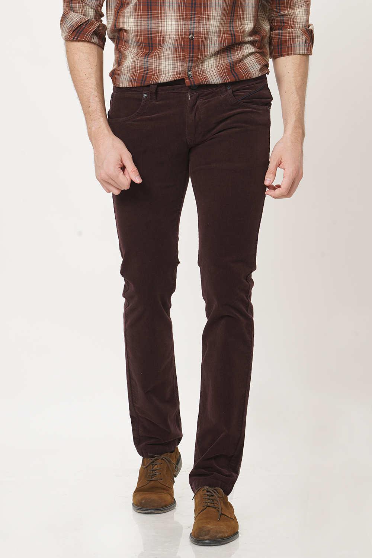 Basics | Basics Skinny Fit Mank Red Corduroy Stretch Trouser