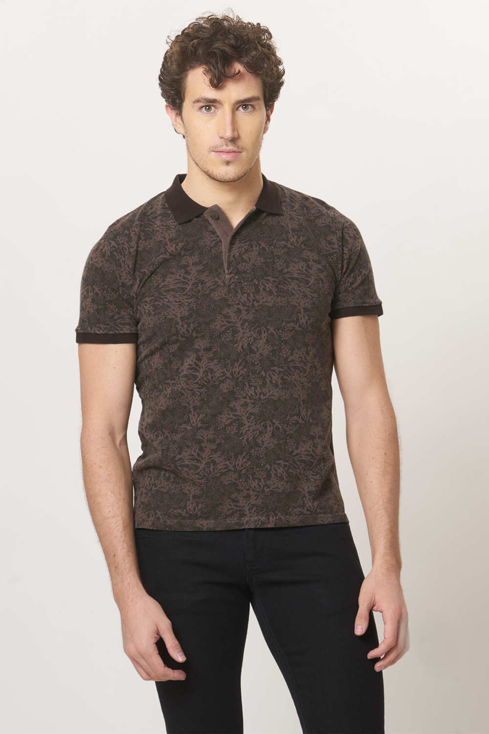 Basics | Basics Muscle Fit Mud Brown Rugby Polo T.Shirt-17BTS36385