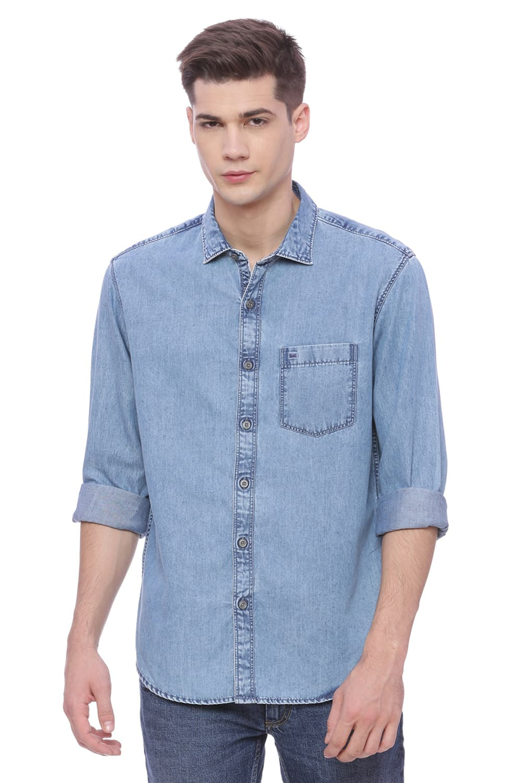Basics | Basics Slim Fit Moon Light Blue Indigo Shirt