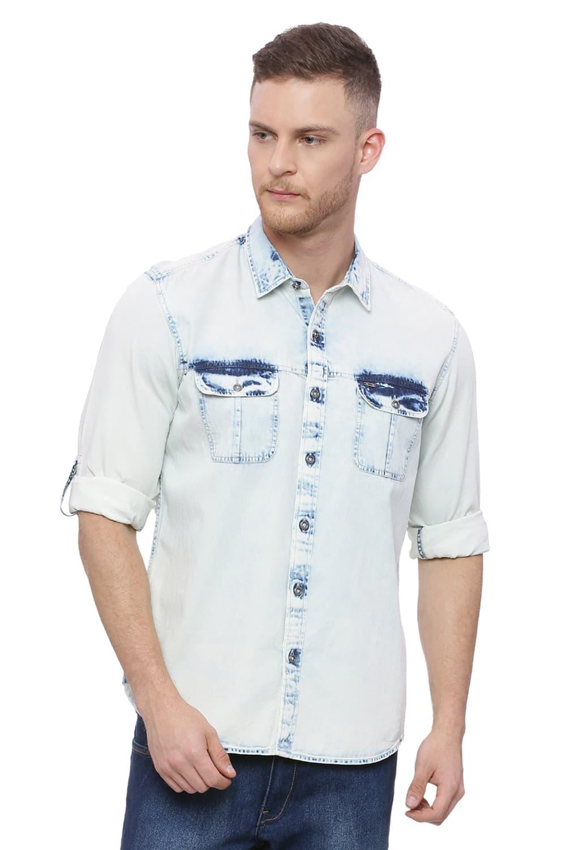 Basics | Basics Slim Fit Blue Granite Indigo Shirt