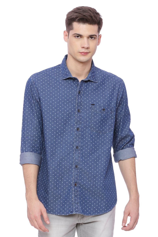 Basics | Basics Slim Fit Dark Slate Navy Printed Denim Shirt