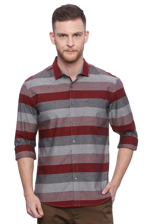 Basics   Basics Slim Fit Biking Red Weft Stripes Shirt
