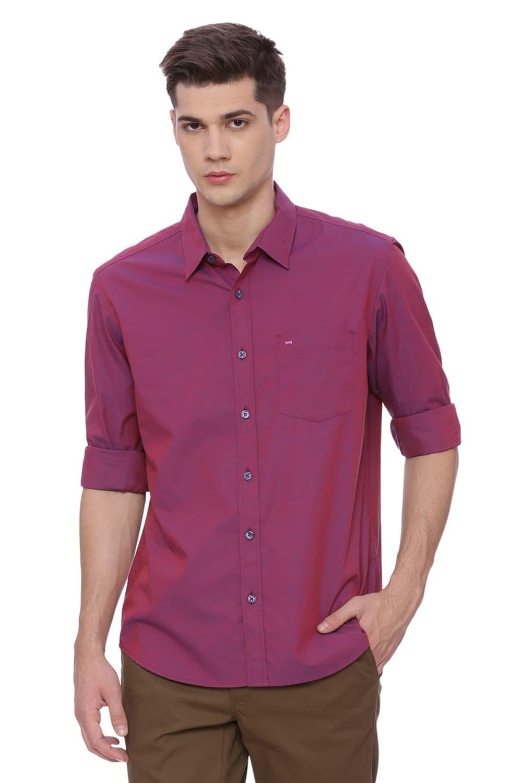 Basics   Basics Slim Fit Carmine Maroon Chambray Shirt