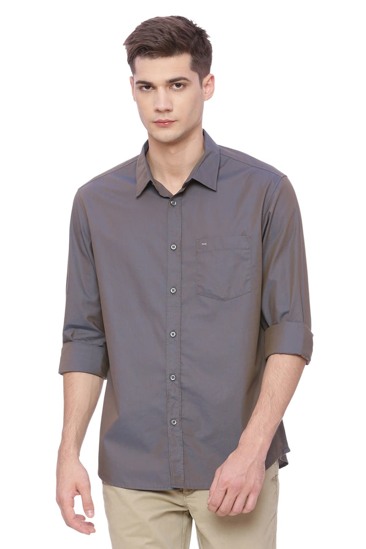Basics | Basics Slim Fit Charcoal Grey Chambray Shirt