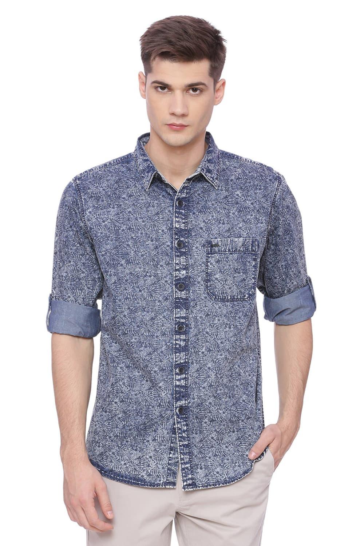 Basics | Basics Slim Fit Blue Mirage Printed Indigo Shirt