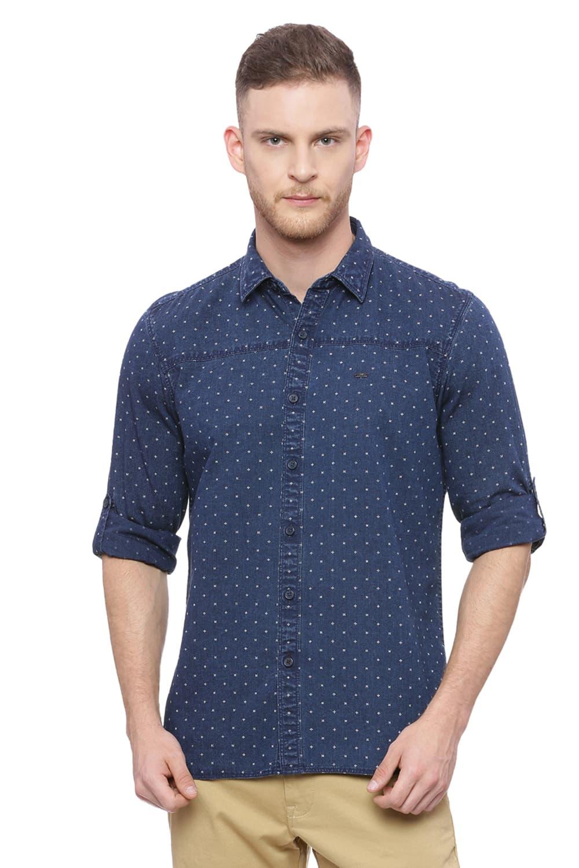 Basics | Basics Slim Fit Coastal Blue Printed Indigo Shirt