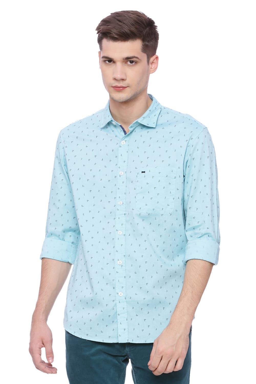 Basics   Basics Slim Fit Marine Aqua Printed Shirt