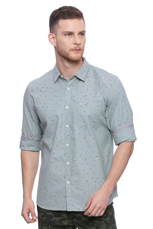 Basics   Basics Slim Fit Feld Spar Printed Shirt