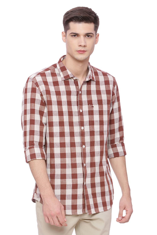 Basics   Basics Slim Fit Hot Chocolate Checks Shirt