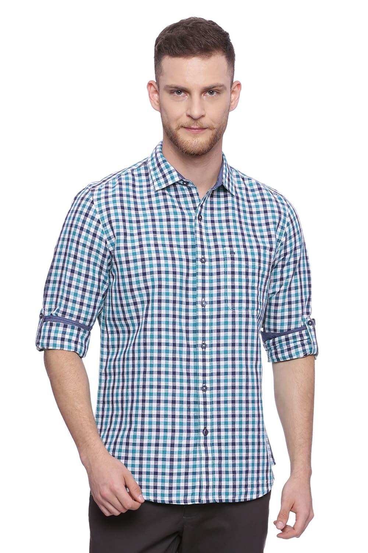 Basics   Basics Slim Fit Fanfare Green Checks Shirt