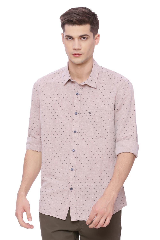 Basics | Basics Slim Fit Tawny Brown Printed Shirt