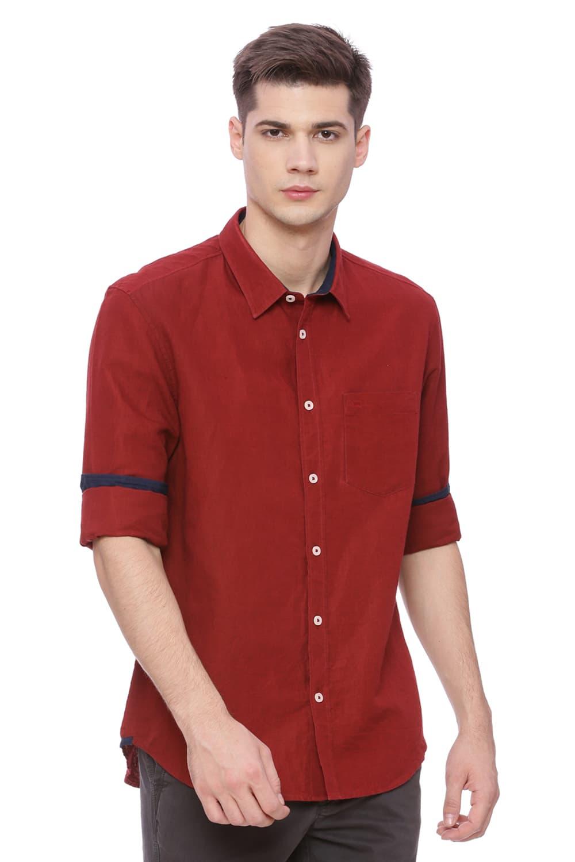 Basics   Basics Slim Fit Jester Red Cotton Linen Shirt