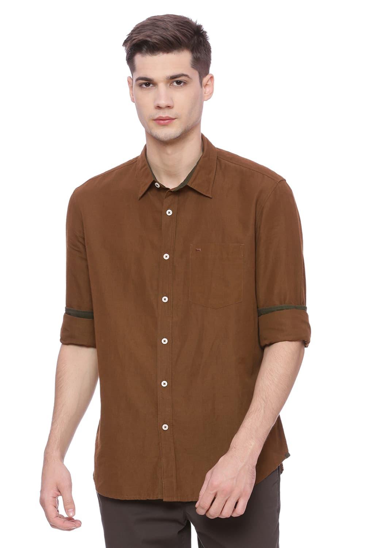 Basics | Basics Slim Fit Patridge Brown Cotton Linen Shirt