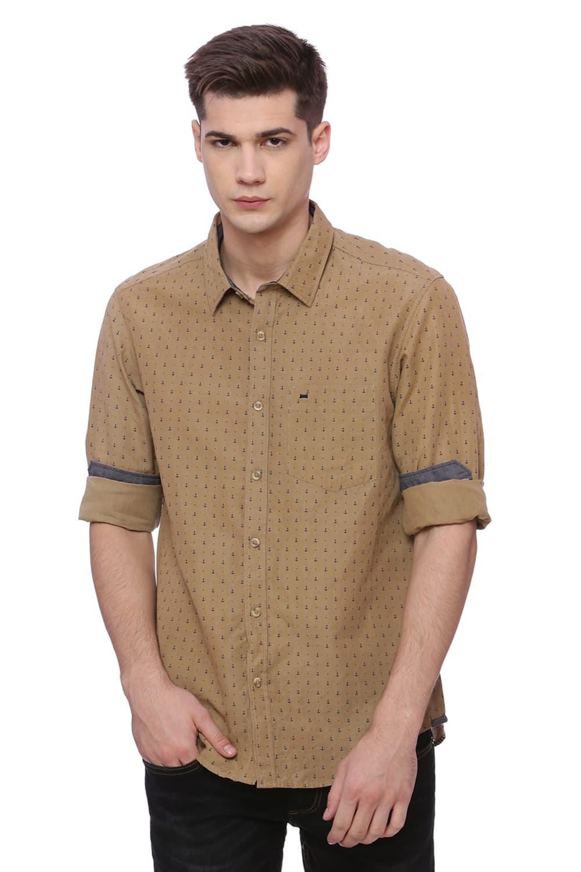 Basics | Basics Slim Fit Ermine Khaki Printed Shirt