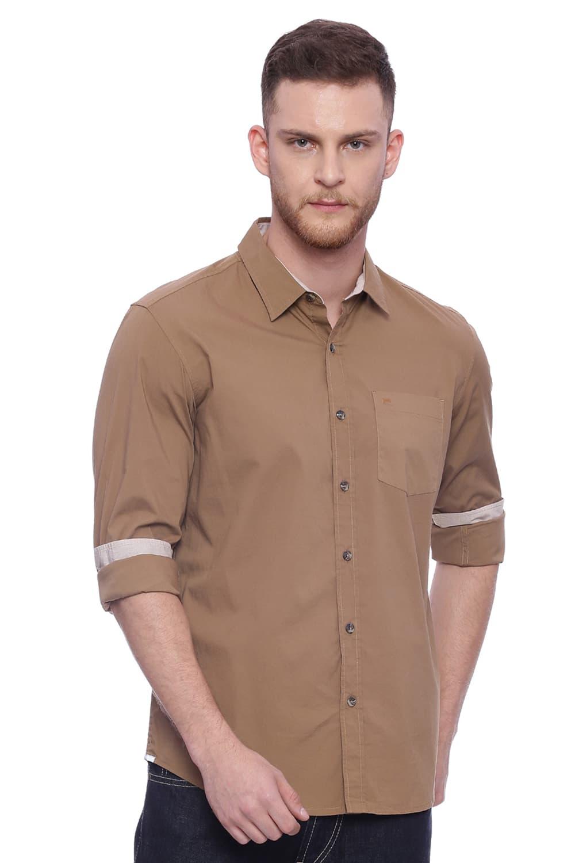 Basics | Basics Slim Fit Marzipan Khaki Stretch Shirt