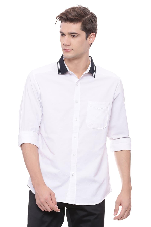 Basics   Basics Slim Fit Bright White Rib Collar Oxford Stretch Shirt