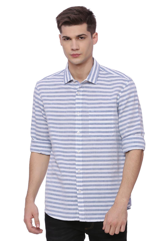 Basics | Basics Slim Fit Deep Water Weft Stripes Shirt