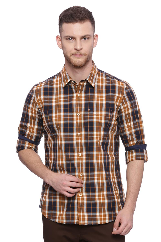 Basics | Basics Slim Fit Pumpkin Spice Brown Checks Shirt
